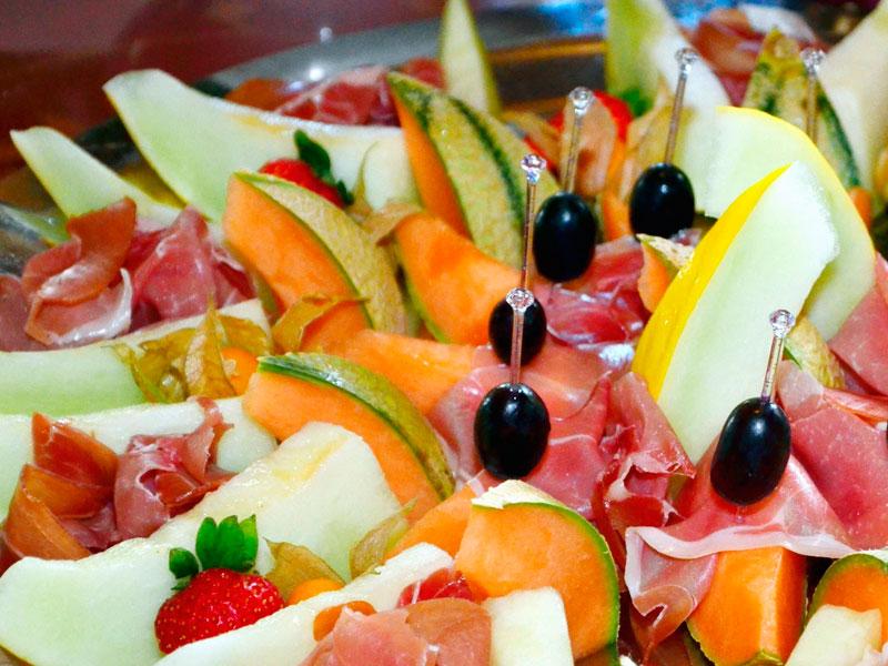 maridaje de jamón con fruta